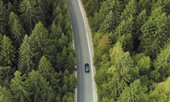 View from the sky of a car on a road through a forest